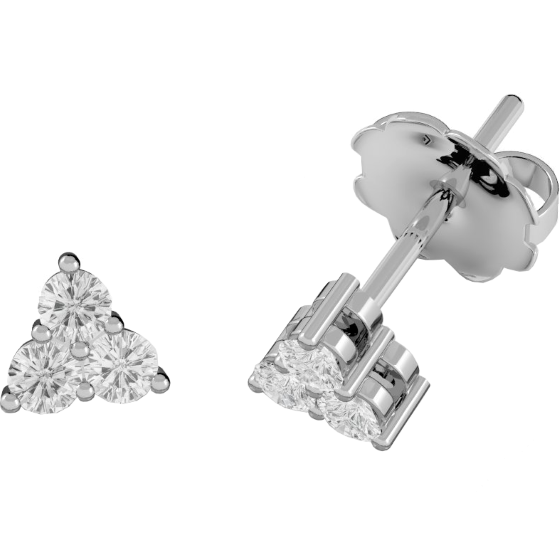 Cercei Tip Stud Aur Alb 18kt cu 3 Diamante Rotund Briliant Setate cu Gheare-img1