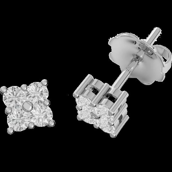 Cercei Tip Stud Aur Alb 9kt cu 4 Diamante Rotund Briliant Setate in Gheare-img1