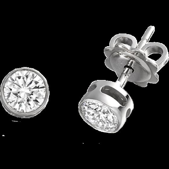 Cercei Tip Stud Platina 950 cu Diamant Rotund Briliant in Setare Rub-Over-img1