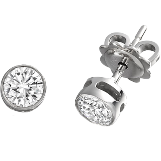 Diamond Stud Earrings In 18ct White Gold With Round Brilliant Cut Diamonds A Rub Over Setting