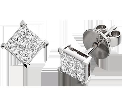 Cercei Tip Stud Aur Alb 18kt cu 9 Diamante Princess-img1