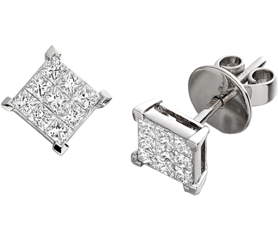 Diamond Stud Earrings In 18ct White Gold With 9 Princess Cut Diamonds