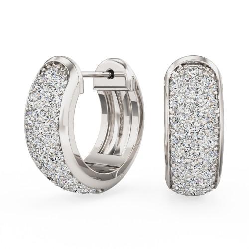 Cercei Creole Aur Alb 18kt pavate cu Diamante Rotund Briliant-img1