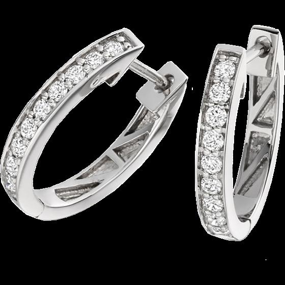 Cercei Creole Aur Alb 9kt cu 9 Diamante Rotund Briliant in Setare Gheare-img1
