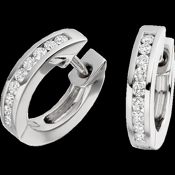 Cercei Creole Aur Alb 18kt cu 9 Diamante Rotund Briliant in Setare Canal-img1