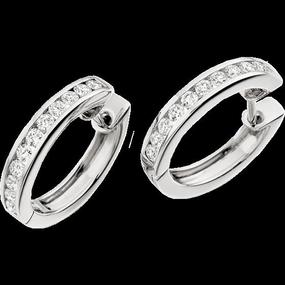 Cercei Creole Aur Alb 18kt cu 11 Diamante Rotunde Briliant in Fiecare cu Setare Canal-img1