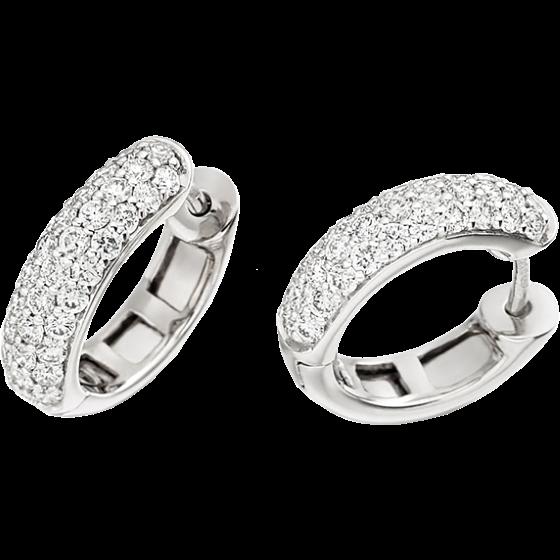 Diamant-Ohrringe in 18kt Weißgold, Kreolen mit runden Brillanten-img1