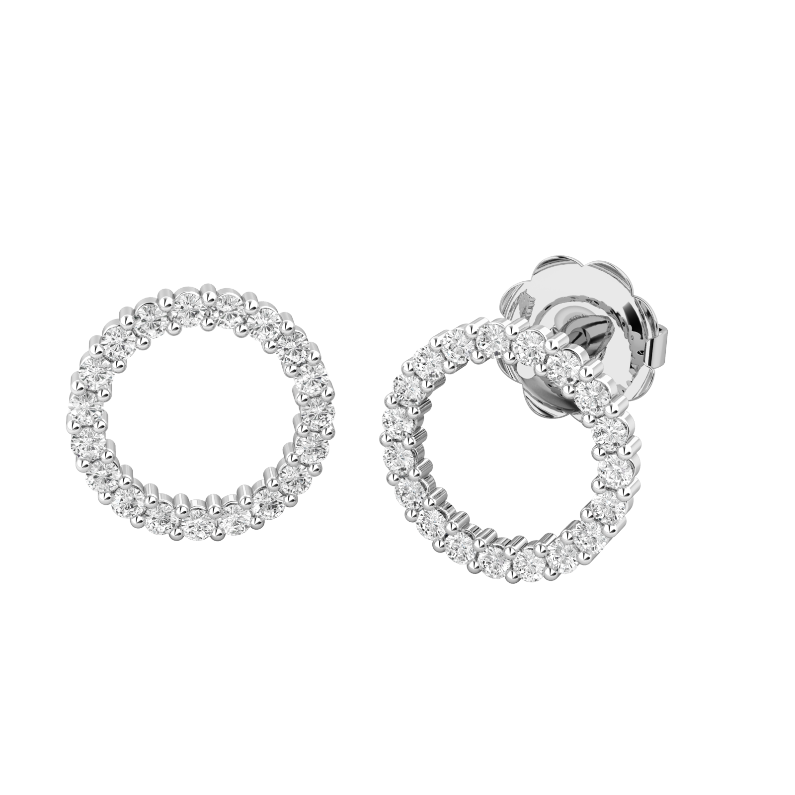 Cercei Aur Alb 18kt cu Diamante Rotund Briliant, Stil Halo-img1