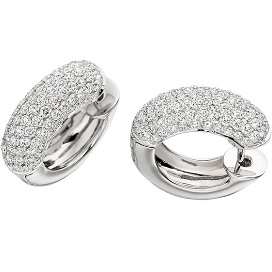 Cercei Creole Aur Alb 18kt cu Diamante Forma Rotund Briliant in Setare Pavata-img1