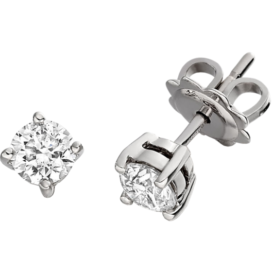 Cercei Stud Aur Alb 9kt cu Diamante Rotund Briliant Setate cu 4 Gheare-img1