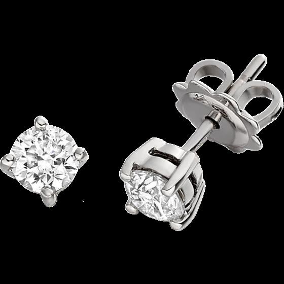 Cercei Stud Aur Alb 18kt cu Diamante Rotund Briliant Setate cu 4 Gheare-img1