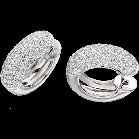 Cercei Creole Aur Alb 18kt cu Diamante Rotund Briliant-img1