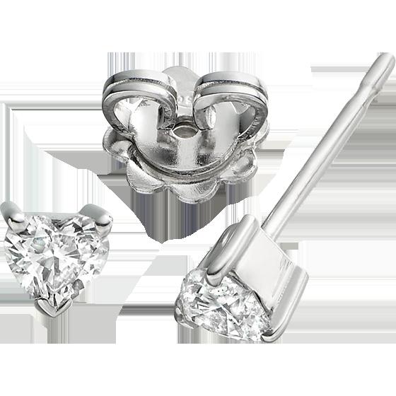 Cercei Tip Stud Aur Alb 18kt cu Diamant Forma Inima Setat in 3 Gheare-img1