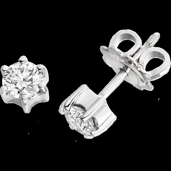 Cercei Tip Stud Aur Alb 9kt cu Diamant Rotund Briliant in Setare cu 6 Gheare-img1