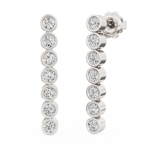 Cercei Lungi Aur Alb 18kt cu 7 Diamante Rotunde Brilliant în Setare Rub Over-img1