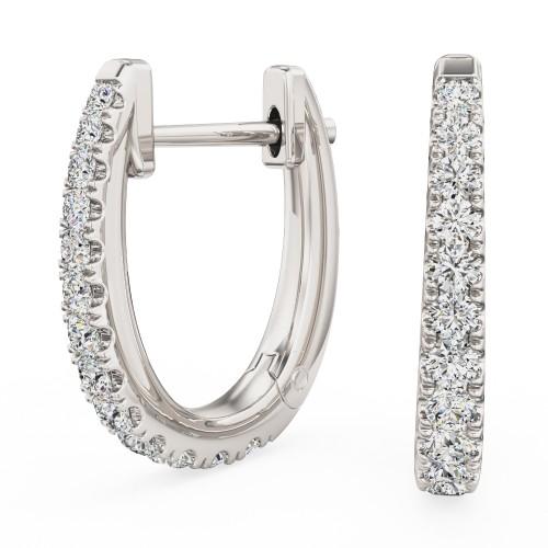 Cercei Creole Aur Alb 18kt cu 13 Diamante Rotunde Briliant in Setare Clasica cu Gheare-img1
