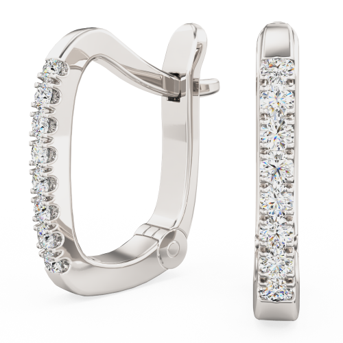 Cercei Creole Aur Alb 18kt cu 8 Diamante Rotunde Setate cu Gheare, Stil Huggie-img1