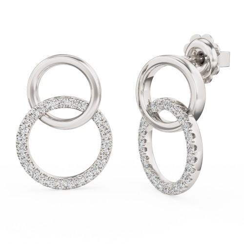 Cercei Rotunzi Aur Alb 18kt cu 8 Diamante Rotunde Setate cu Gheare, Dublu Cerc-img1