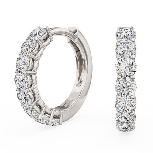 Cercei Creole Aur Alb 18kt cu 8 Diamante Rotunde Briliant in Setare Clasica cu Gheare-img1