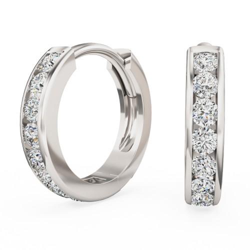 Cercei Rotunzi Aur Alb 18kt cu 9 Diamante Rotunde Briliant in Setare Canal, Tip Huggie-img1