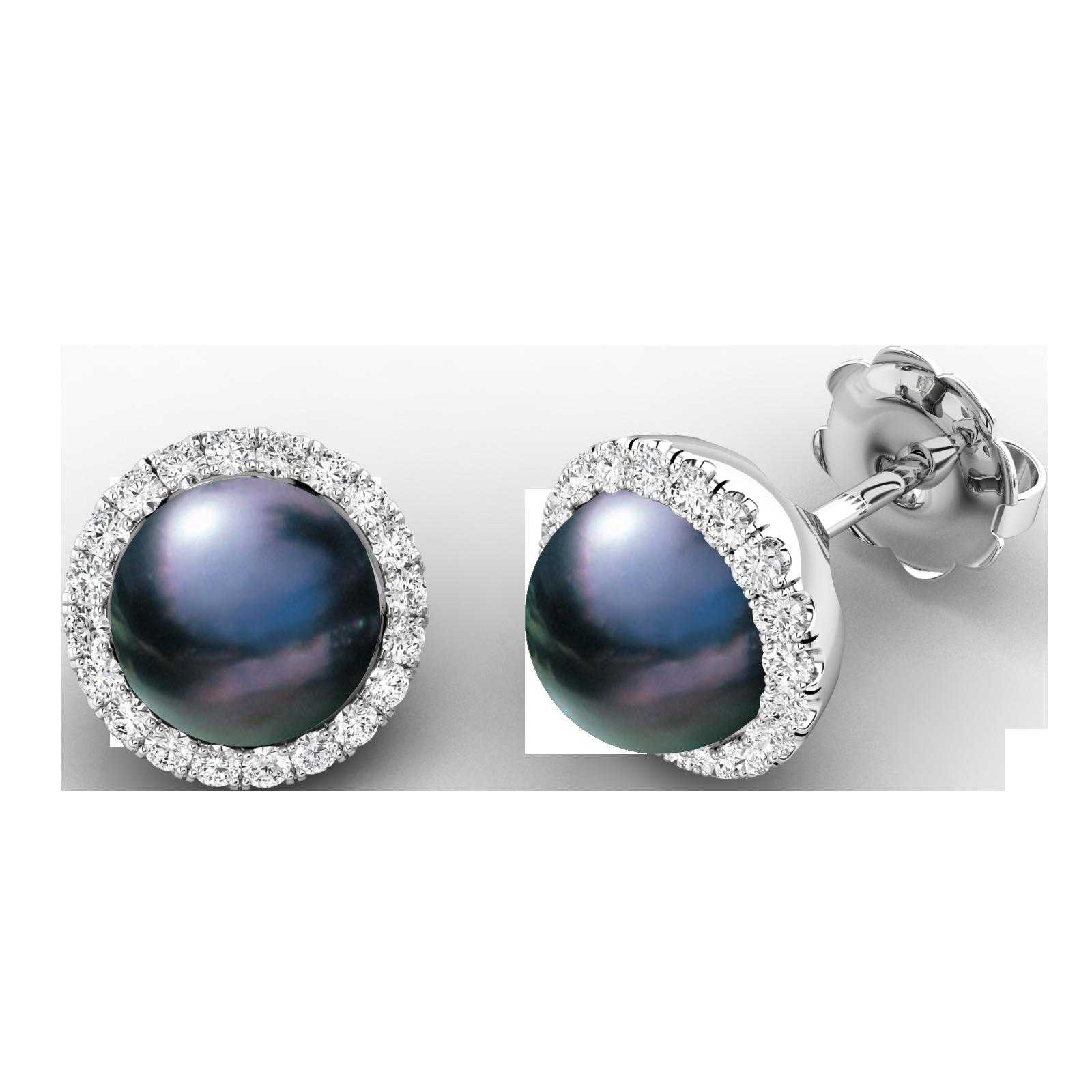 Cercei Stud Aur Alb 18kt cu Perle Negre si Diamante Rotunde Briliant-img1