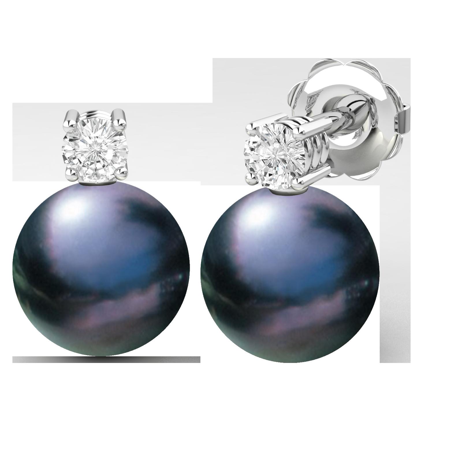 Cercei Aur Alb 18kt cu Perle Negre de 8mm si Briliante Rotunde Sclipitoare-img1