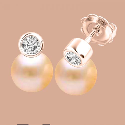 Cercei Aur Roz 18kt cu Perle Piersic Deschis si Diamante Rotunde-img1