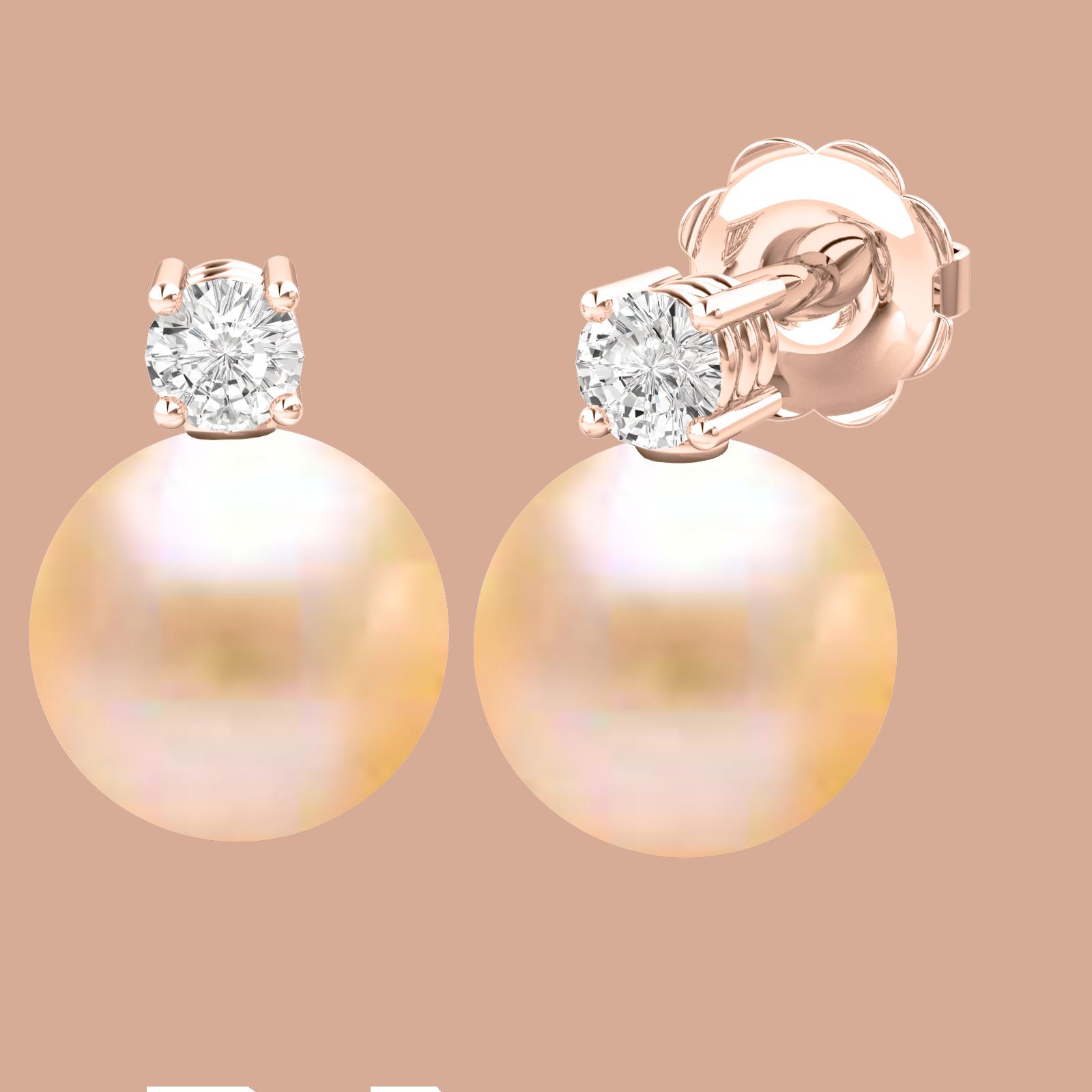 Cercei Aur Roz 18kt cu Perle Piersic Deschis de 8mm si Briliante Rotunde Sclipitoare-img1