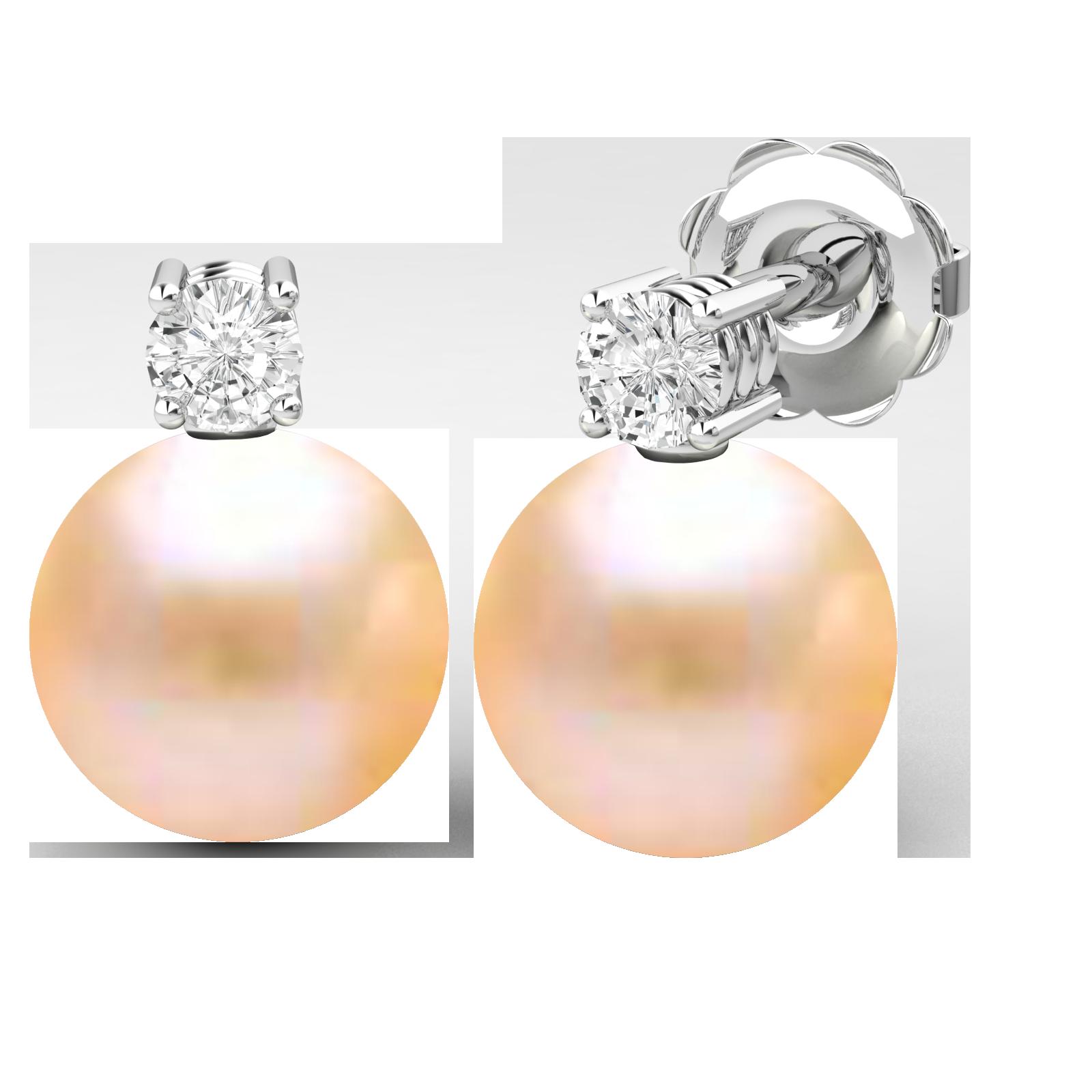 Cercei Aur Alb 18kt cu Perle Piersic Deschis de 8mm si Briliante Rotunde Sclipitoare-img1