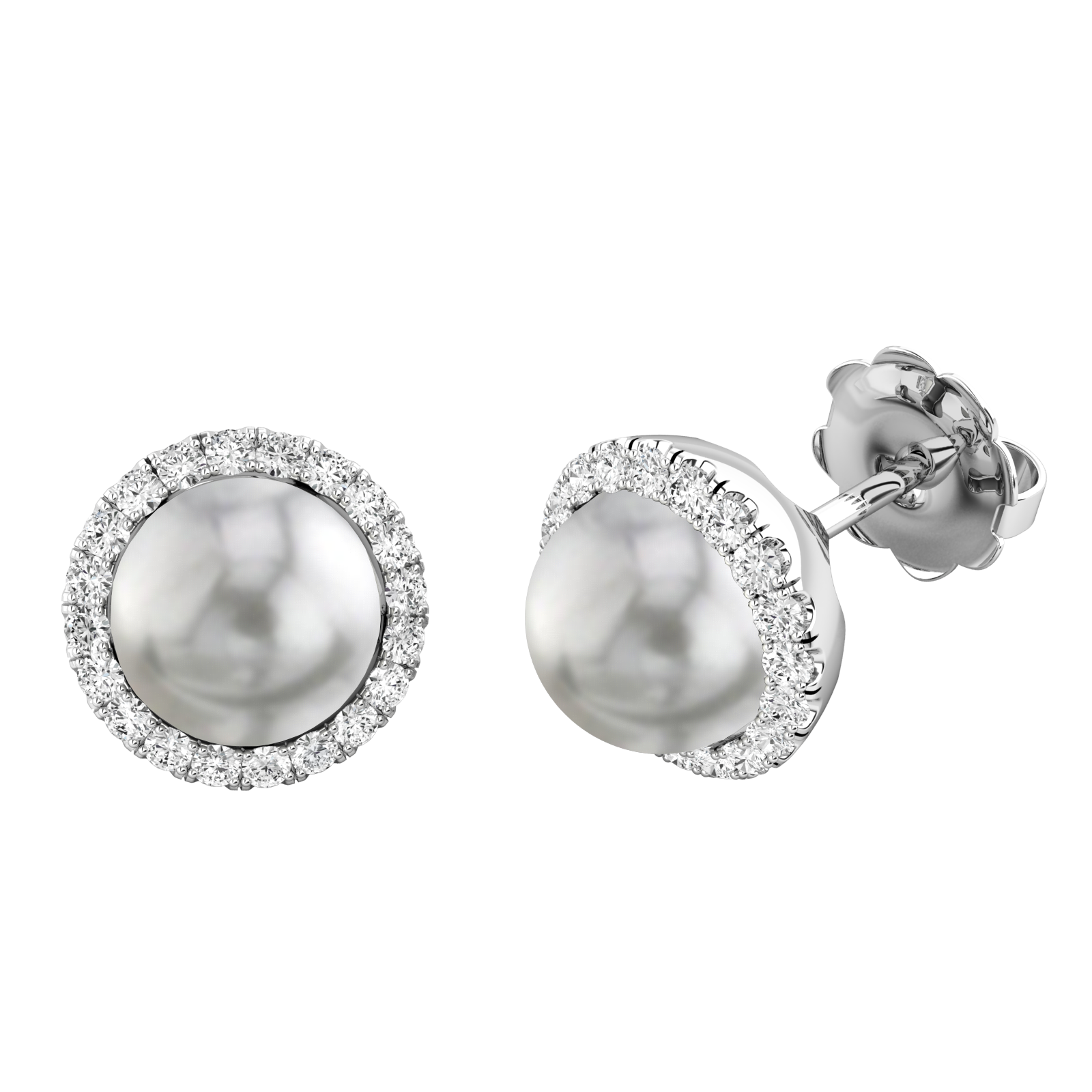 Cercei Stud Aur Alb 18kt cu Perle Argintiu Inchis si Diamante Rotunde Briliant-img1