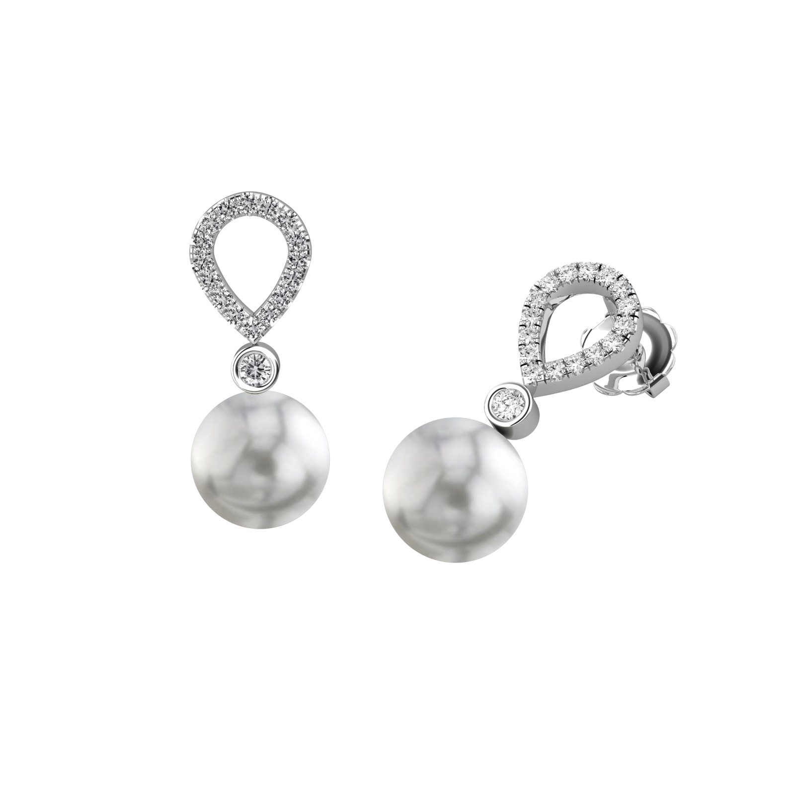 Cercei Eleganti din Aur Alb 18kt cu Perle Argintiu Inchis si Diamante Rotunde Briliant-img1