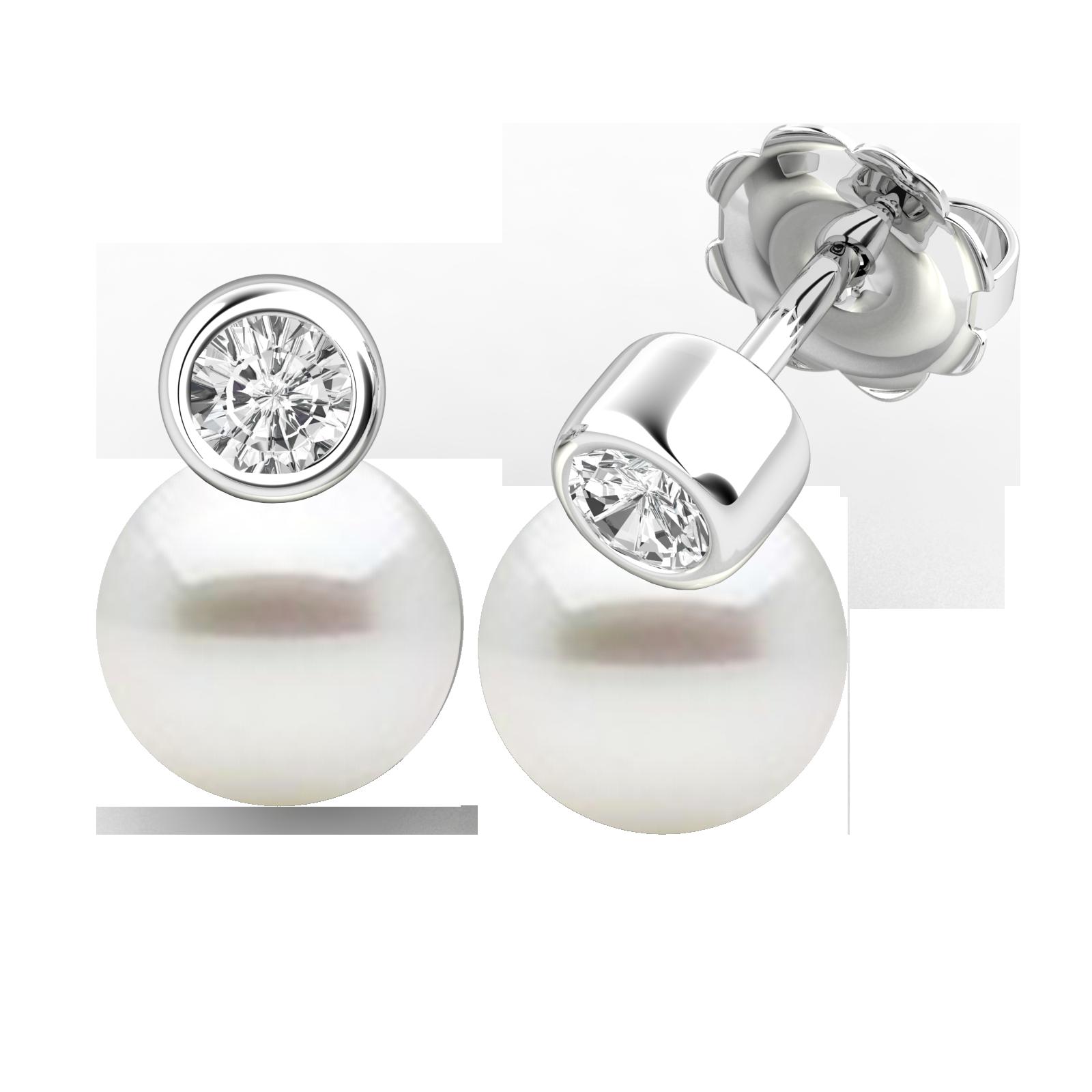 Cercei Aur Alb 18kt cu Perle Albe si Diamante Rotunde-img1