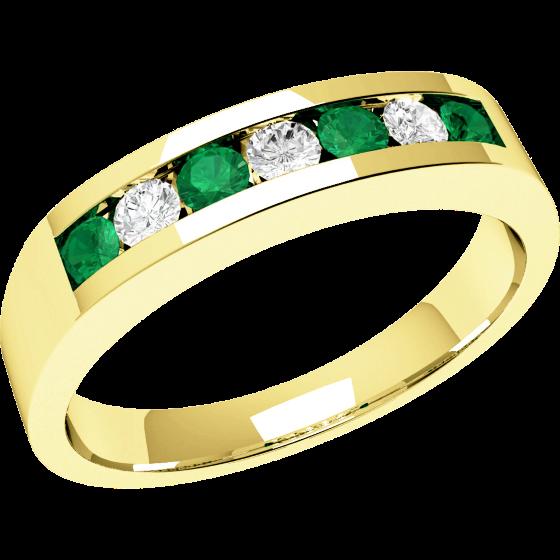 Smaragd und Diamant Ring für Dame in 18kt Gelbgold mit 7 Steinen in Kanalfassung-img1