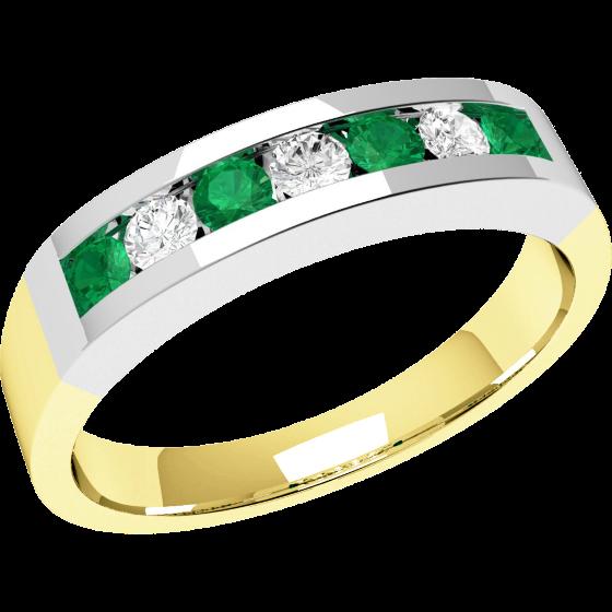 Smaragd und Diamant Ring für Dame in 18kt Gelbgold und Weißgold mit 7 Steinen in Kanalfassung-img1