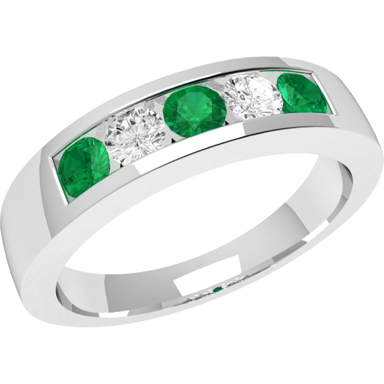 Smaragd und Diamant Ring für Dame in 18kt Weißgold mit Smaragden und Diamanten in Kanalfassung-img1