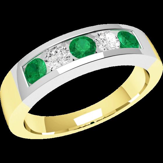 Smaragd und Diamant Ring für Dame in 18kt Gelbgold und Weißgold mit Smaragden und Diamanten in Kanalfassung-img1