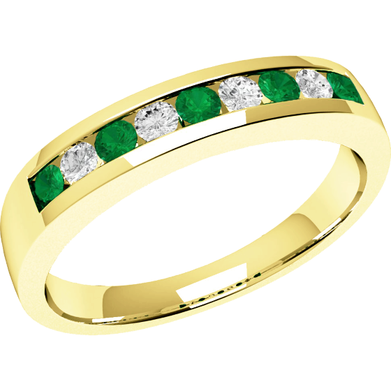 Emerald and Diamond Eternity Ring for Women in 9ct yellow gold with 5 round emeralds and 4 round brilliant cut diamonds-img1