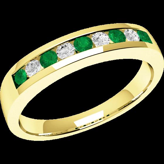 Inel cu Smarald si Diamant Dama Aur Galben 18kt cu 9 Pietre Smaralde si Diamante-img1