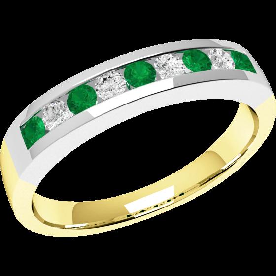 Smaragd und Diamant Ring für Dame in 18kt Gelbgold mit 9 Steinen-img1