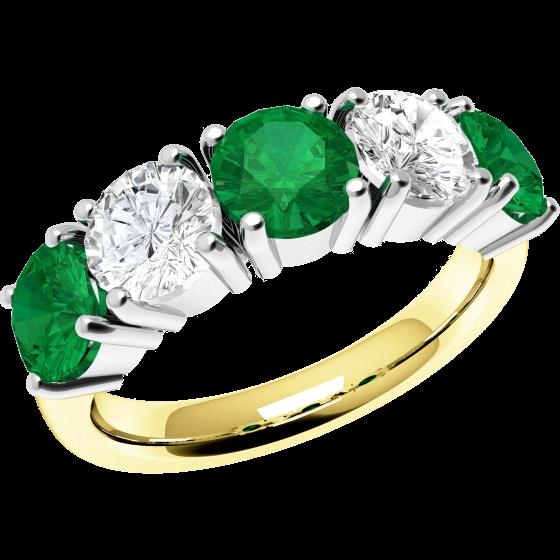 Smaragd und Diamant Ring für Dame in 18kt Gelgbold und Weißgold mit 5 runden Steinen in Krappenfassung-img1