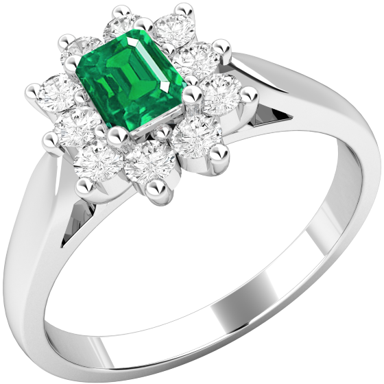 Smaragd und Diamant Ring für Dame in 18kt Weißgold mit einem Smaragd Schliff Smaragd umgeben von runden Brillanten in Krappenfassung-img1