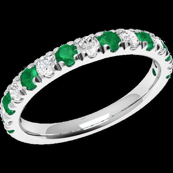 Smaragd und Diamant Ring für Dame in 18kt Weißgold mit 15 Steinen, Eternity Ring-img1