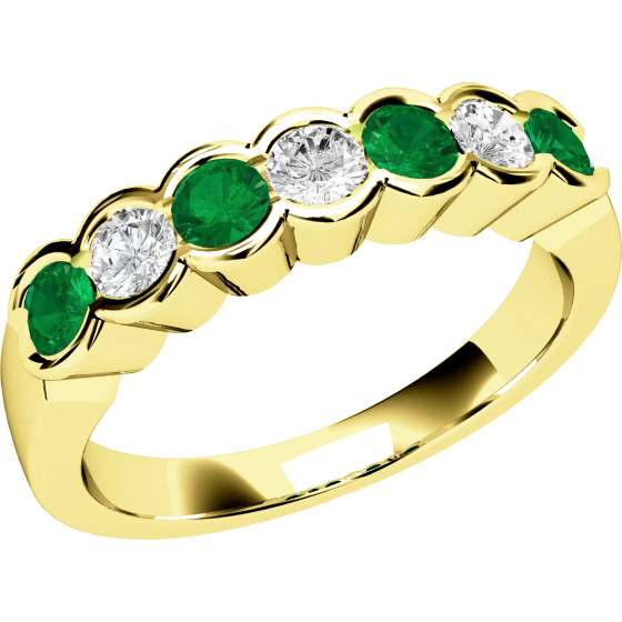 Smaragd und Diamant Ring für Dame in 9kt Gelbgold mit 7 Steinen in Zargenfassung-img1