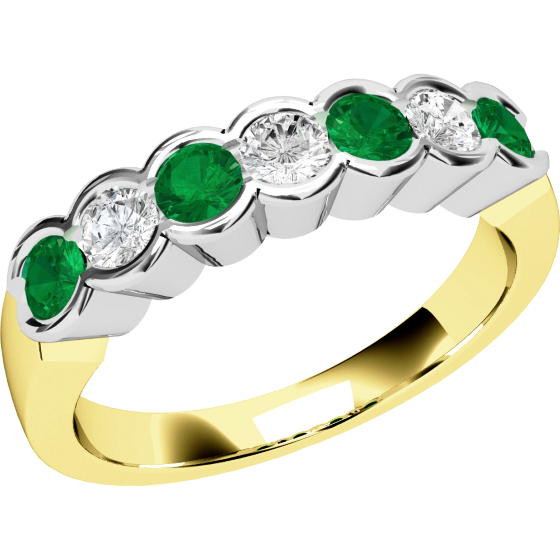 Emerald and Diamond Eternity Ring for Women in 9ct yellow and white gold with 4 round emeralds and 3 round brilliant cut diamonds, all in a rub-over setting-img1