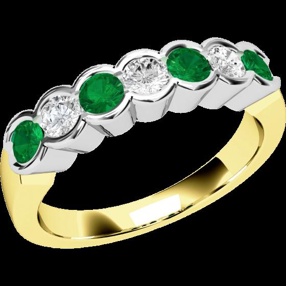 Smaragd und Diamant Ring für Dame in 18kt Gelbgold und Weißgold mit 7 Steinen in Zargenfassung-img1