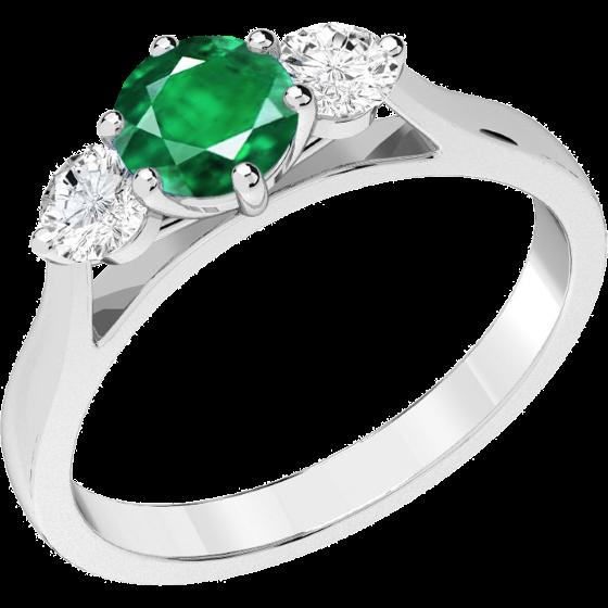 Inel cu Smarald si Diamant Dama Aur Alb 18kt cu un Smarald Rotund si 2 Diamante Rotund Briliant in Setare Gheare-img1