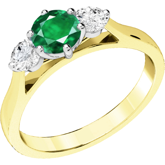 Emerald and Diamond Ring for Women in 18ct yellow and white gold with a round emerald centre and a round brilliant cut diamond on either side, all in a claw setting-img1