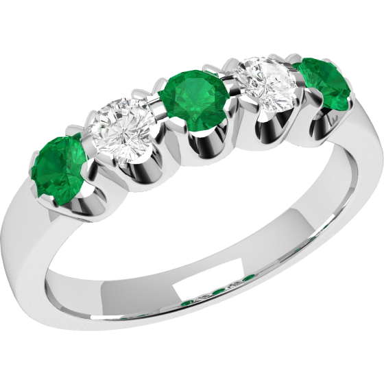 5789dc3f0 Emerald and Diamond Eternity Ring for Women in 9ct white gold with 2  diamonds and 3 emeralds