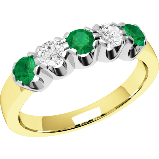 Emerald and Diamond Eternity Ring for Women in 9ct yellow and white gold with 2 diamonds and 3 emeralds-img1