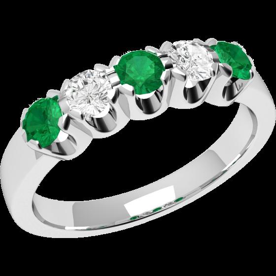 Smaragd und Diamant Ring für Dame in 18kt Weißgold mit 5 Steinen, Eternity Ring-img1